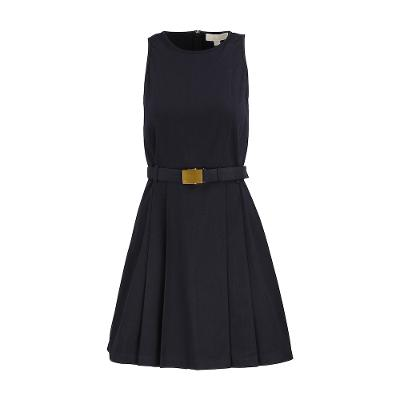 belted sleeveless one-piece navy
